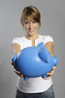 lady with piggy